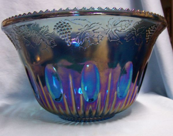 PUNCH BOWL: Beautiful Princess Blue Iridescent Carnival Glass Bowl with Ladle by Indiana Glass Co.