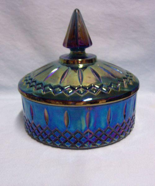 """CANDY DISH: Beautiful Princess Blue Carnival Indiana Glass 6"""" Candy Dish/Candy Box & Lid"""