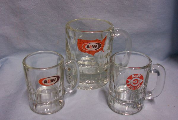 MUGS: Vintage Collectible (3) A & W Root Beer Glass Mugs w/ 3 Different Logos