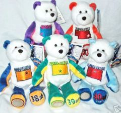COIN BEARS 2006 Set State Quarter Plush Coin Bears #36 - #40 LIMITED TREASURES