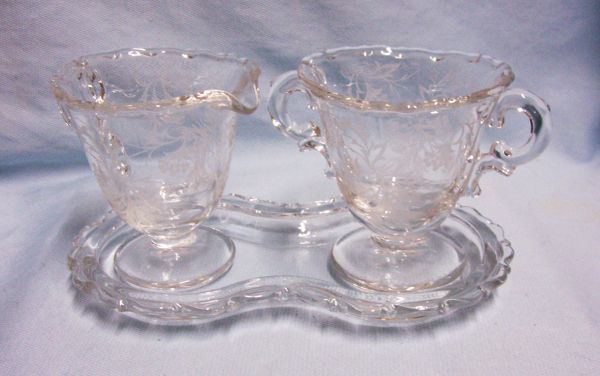 SUGAR/CREAMER SET with TRAY: Vintage Fostoria Footed Etched Open Sugar Bowl & Creamer - Heather