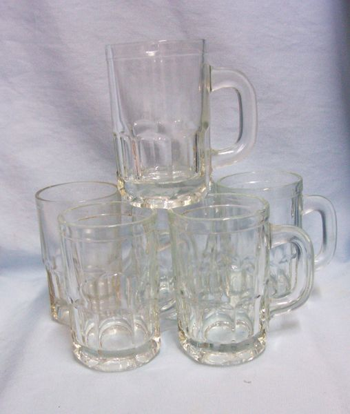"Vintage Childs Root Beer Mugs/Jelly Canning Mugs Clear Glass Thumbprint 4 1/4"" H"