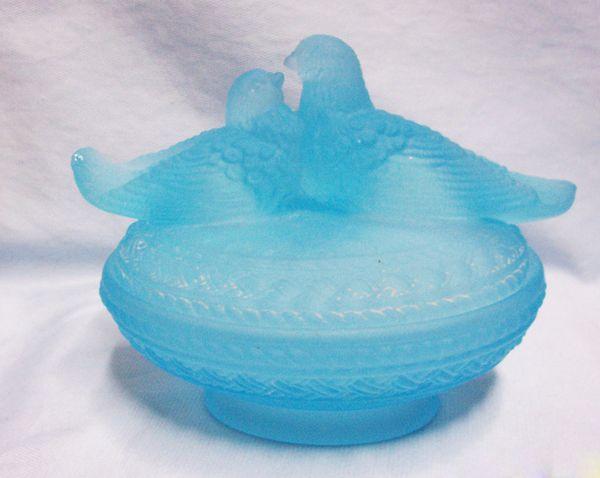 Candy Dish: Westmoreland Glass Satin Horizon Blue Love Birds Nesting Candy dish