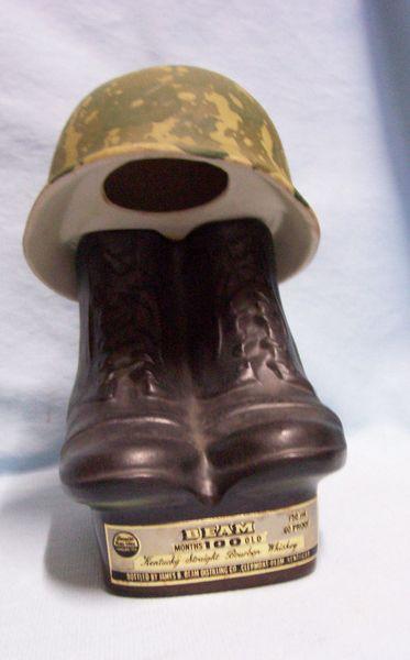 "Bourbon Whiskey Decanter Vintage James Beam Boots & Helmet 8.5"" Decanter - EMPTY"