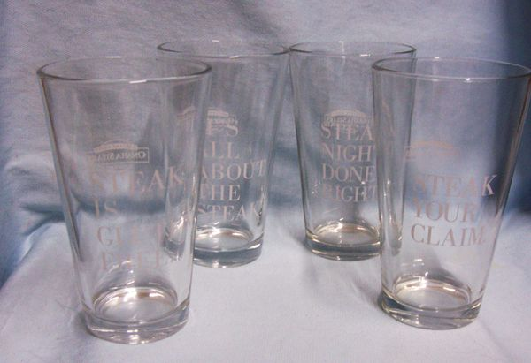 "Glassware: Set 4 Omaha Steak Clear Glass Steaklover's Pint 6"" Beverage Glasses"