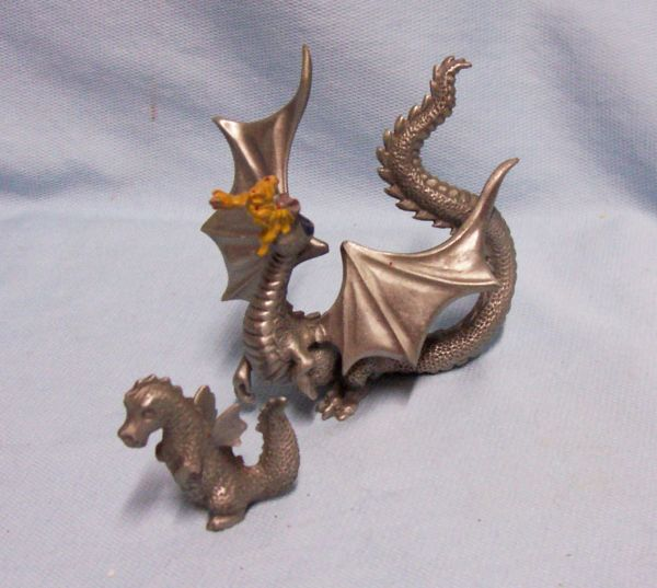 Pair Miniatures Mythical Dragon Figurines Rawcliffe Pewter Fire Breathing Dragon 80s