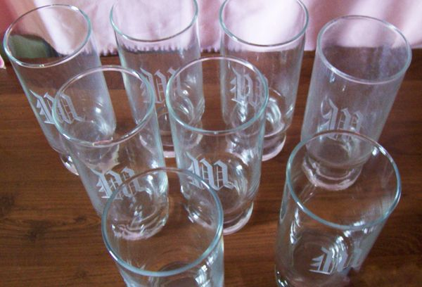 "GLASSWARE: Set 8 Personalized Sleek Highball Drinking 6.5"" H Glasses Letter 'W'"
