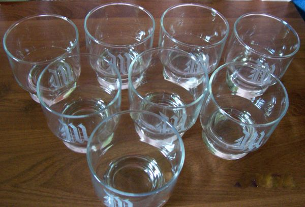 "GLASSWARE: Set 8 Personalized Sleek 3.5"" H Whiskey/Drinking Glasses Letter 'W'"