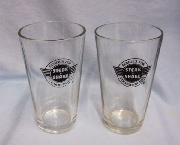 "Glassware: Pair Steak N Shake Restaurant 6"" Glasses 1960s Embossed Black Logo"