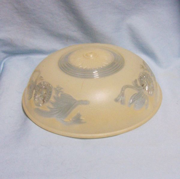 Ceiling Light Fixture Cover Vintage Dome 3 Hole Clear and Ivory Color Floral