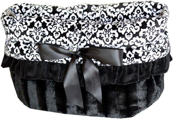 Dog Bed/Car Seat: Reversible Snuggle Bug Pet Bed, Bag, Car Seat For Pets 15 lbs & Under - BLACK FANCY