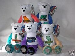 COIN BEARS 1999 Set (5) Collectible State Quarter Coin Plush Bears LIMITED TREASURES