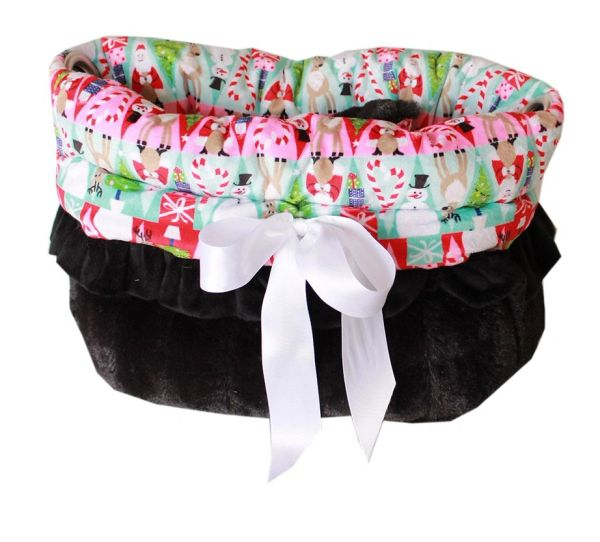 Dog Beds/Car Seat: Reversible Snuggle Bugs Pet Bed, Bag, Car Seat for 15 lb & Under in (5) CHRISTMAS HOLIDAY PATTERNS
