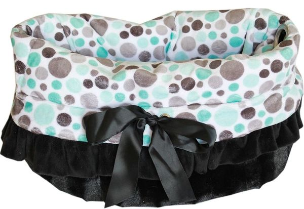 Dog Beds/Car Seat: Reversible Snuggle Bugs Pet Bed, Bag, Car Seat for Dogs 15 lbs and Under in (3) PARTY DOTS Patterns