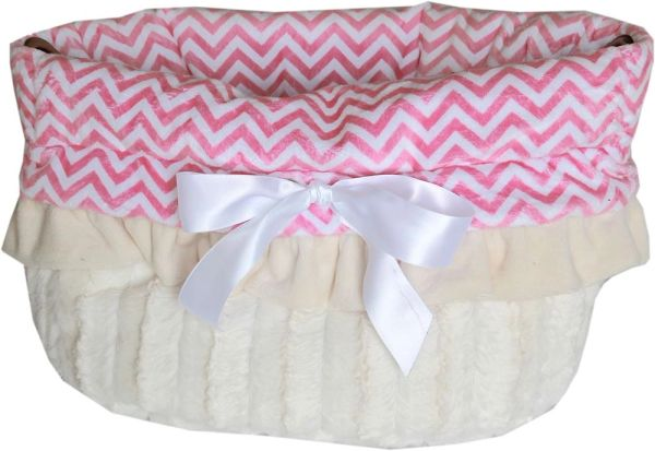 Dog Bed/Car Seat: Reversible Snuggle Bug Pet Bed, Bag, Car Seat for Dogs 15 lbs and Under in (2) CHEVRON COLORS
