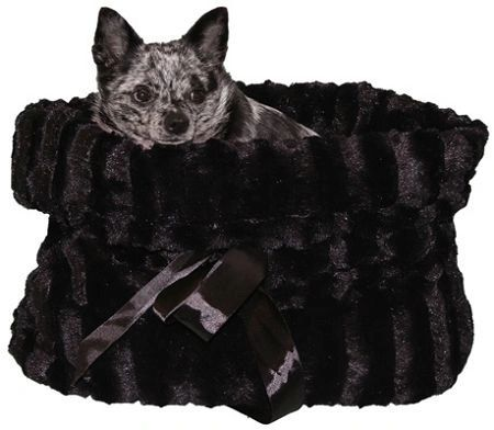 Dog Beds/Car Seat: Reversible Snuggle Bugs Pet Bed, Bag, Car Seat for Dogs 15 lbs or Under in Black, Brown, or Camo