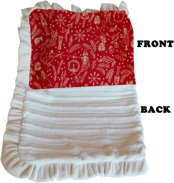 DOG BLANKETS: CHRISTMAS Pet Blankets Luxurious Fabric Washable Reversible Sizes From Carrier to Jumble - RED HOLIDAY