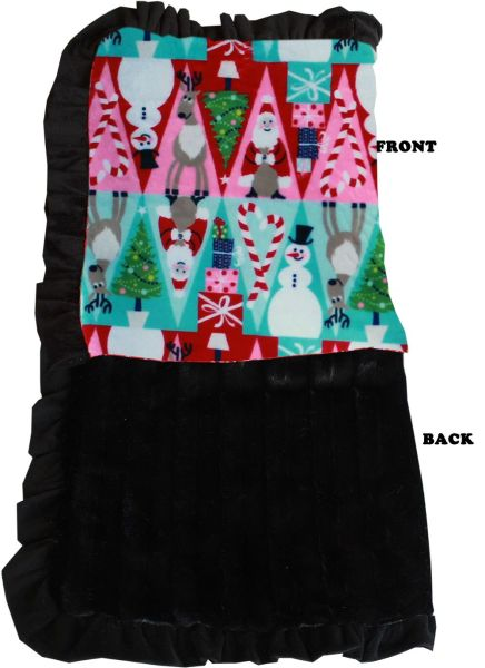 DOG BLANKETS: CHRISTMAS Pet Blankets Luxurious Fabric Washable Reversible Sizes From Carrier to Jumble - CHRISTMAS MEDLEY
