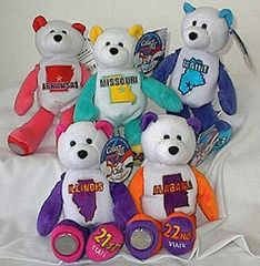 COIN BEARS 2003 Limited Treasures State Coin Collectible Plush Bears #21 - #25