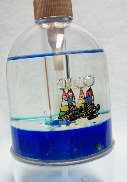"Hand Pump Lotion/Soap Dispenser with Boats on Blue Ocean 7 1/2"" H Acrylic 1998 by Allure"