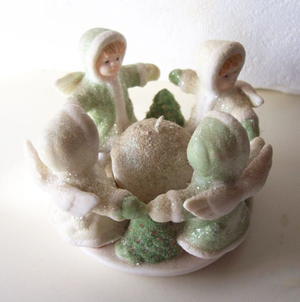 Votive Candle with 4 Angels Sparkle Ceramic Homemaker's Idea Holiday Home Decor