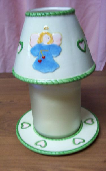 CANDLE HOLDER 3 Pc. Set Collectible Plate, Large Candle, & Topper with Angel Design Home Decor