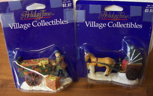 COLLECTIBLES CHRISTMAS VINTAGE FIGURINES: 2 Ceramic Figurine Accessories for CHRISTMAS Village