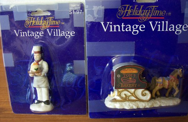 COLLECTIBLES CHRISTMAS ACCESSORIES Vintage Village Baker and Baker's Cart by Holiday Time