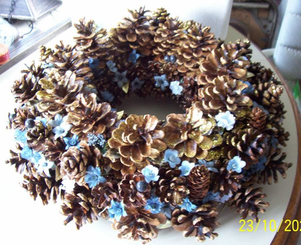"Home Decor Vintage Handmade Pine Cone Table Display Wreath13"" Holiday Christmas"
