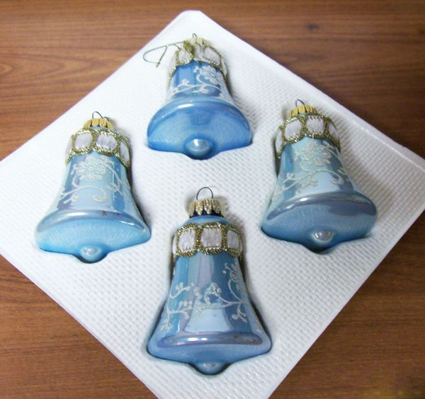 CHRISTMAS ORNAMENTS: Vintage Hand Decorated Blue Bell Shape Christmas Classic