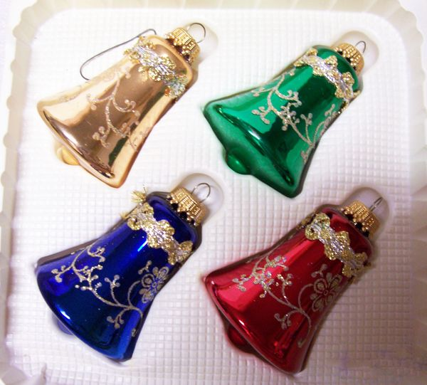 CHRISTMAS ORNAMENTS: 4 Vintage Hand Decorated Multi-color Krebs Glass Ornaments