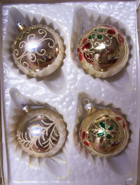 CHRISTMAS ORNAMENTS: Set of 4 Handcrafted Christmas Bulbs/Balls with Glitter