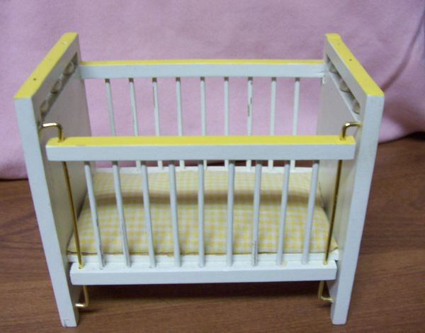 DOLLHOUSE FURNITURE Miniature Yellow Baby Crib w/Mattress Movable Side 1980s