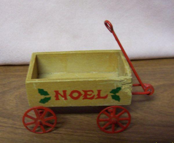 DOLLHOUSE FURNITURE Miniature Wooden Wagon 1980s 'NOEL' Red handle & Wheels
