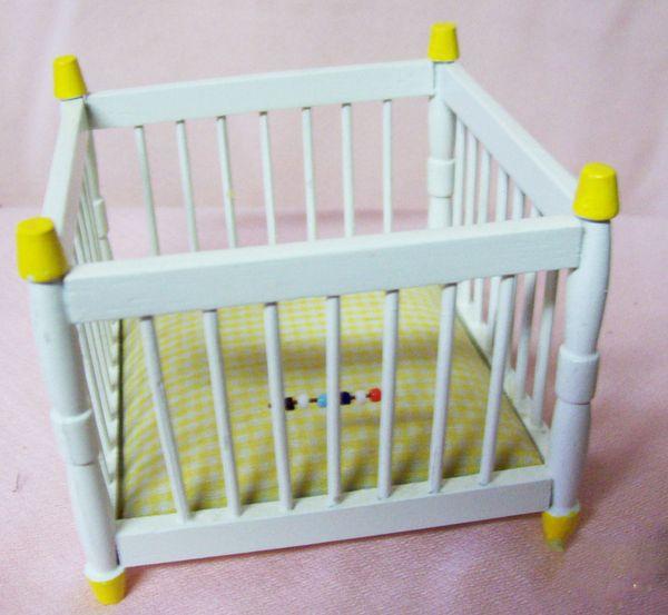 DOLLHOUSE FURNITURE Miniature Yellow Trim Baby Playpen Yellow Trim & Beads 1980s