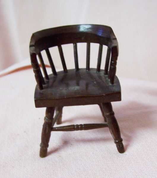 DOLLHOUSE FURNITURE Miniature Chair Wooden Spindle Back Captain's Style Chair
