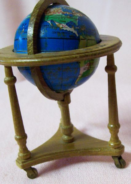 """DOLLHOUSE FURNITURE Light Brown Wooden 3"""" World Globe on Movable Stand 1980s"""