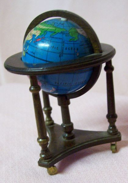 """DOLLHOUSE FURNITURE Dark Brown Wooden 3"""" World Globe on Movable Stand 1980s"""