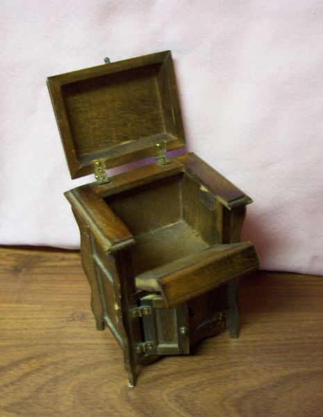 DOLLHOUSE FURNITURE Brown Wooded Cabinet for Victrola Top & Front Opens 1980s