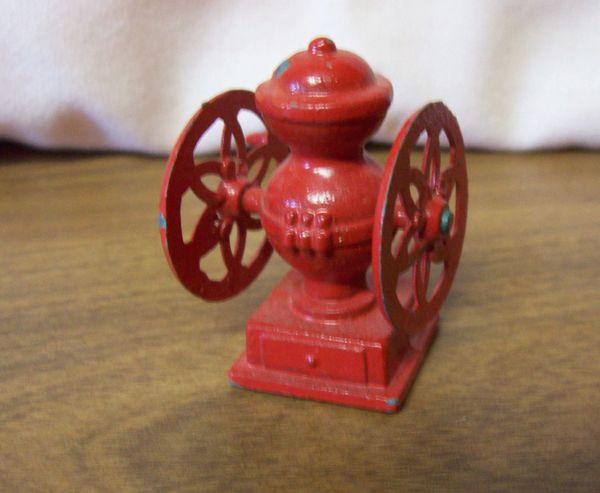 DOLLHOUSE FURNITURE Old Fashion Miniature Red Metal Coffee Grinder 1980s Kitchen