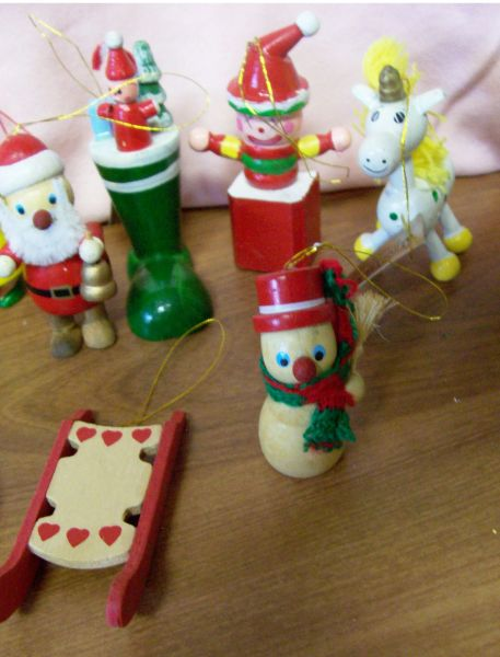 WOODEN CHRISTMAS ORNAMENTS 12 Piece Toyland Wooden Christmas Tree Ornaments