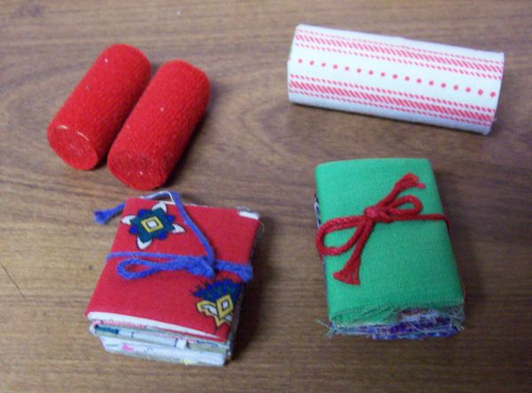 DOLLHOUSE ACCESSORIES (5) Fabric Samples Material - Fabric Shops or Sewing Room
