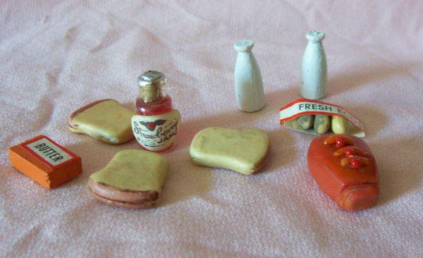 DOLLHOUSE KITCHEN Breakfast Accessories Ham, Milk, Eggs, Butter, Jam, Bread
