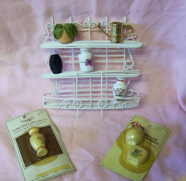 DOLLHOUSE Accessories White Metal Plant Stand with Vases, Plant, Watering Can