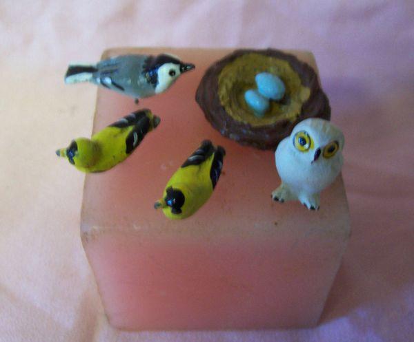 DOLLHOUSE Wildlife Accessories - Bird Nest, 3 Birds, & Owl with pins in each