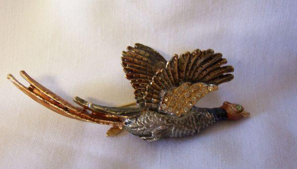 """BROOCH PIN: Vintage Unique Brooch Flying Pheasant Painted Enamel, Rhinestones on Wings 3"""" L"""