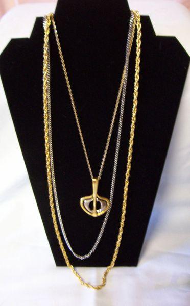 "NECKLACE: Vintage Triple Strand Pendant Silver & Gold Color Retro 15"" Necklace"
