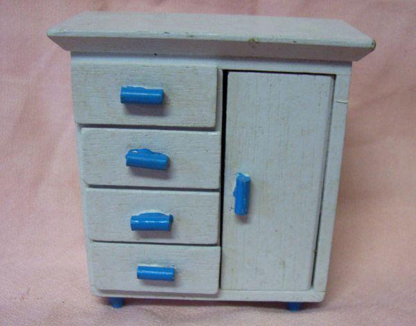 DOLLHOUSE FURNITURE: Miniature White with Blue Trim Baby Wooden Dresser 1980s
