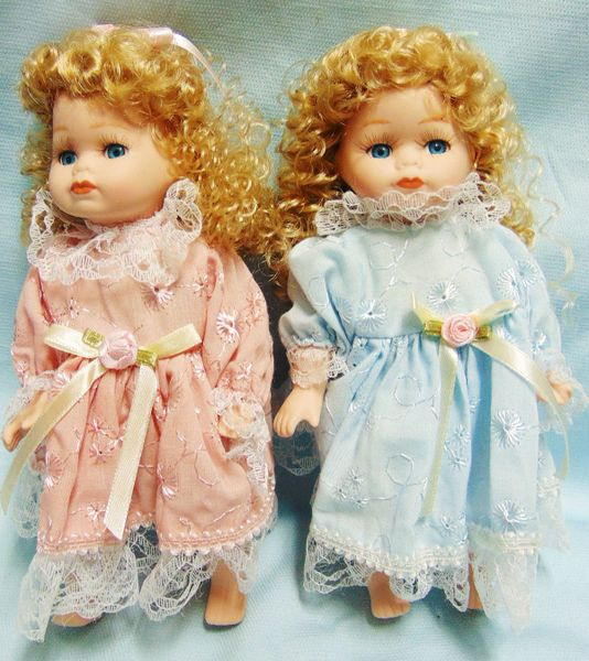 """COLLECTIBLE DOLLS: Pair Collectible 8"""" Porcelain Jointed Dolls in Blue, Pink dresses"""