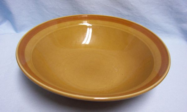 VEGETABLE SERVING BOWL Stoneware Fashion Manor Flora Brown with Deep Brown Band